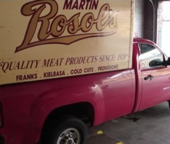 Our delivery truck goes to many locations to deliver fresh meat products.